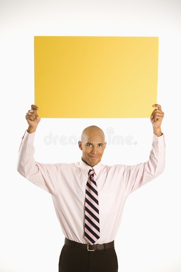 Man holding blank sign. royalty free stock photography