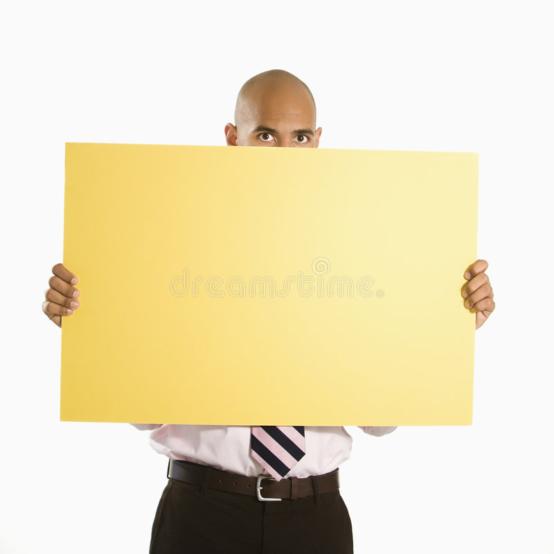 Man holding blank sign. royalty free stock images