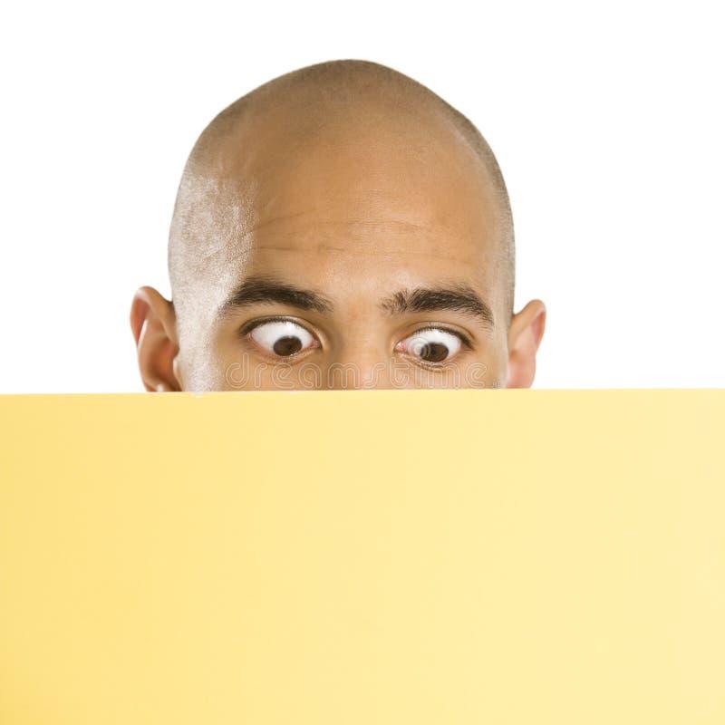 Man holding blank sign. stock image