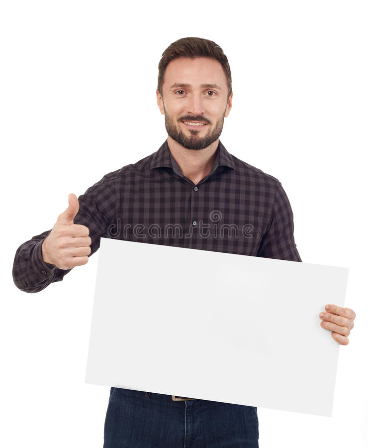 Man holding a blank sign royalty free stock image