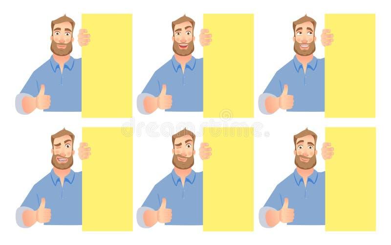 Man holding blank signboard - set stock illustration