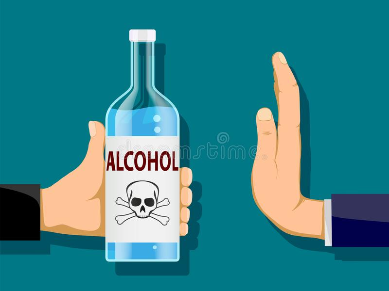 Man is holding a bottle of alcohol in his hand. Another person r vector illustration