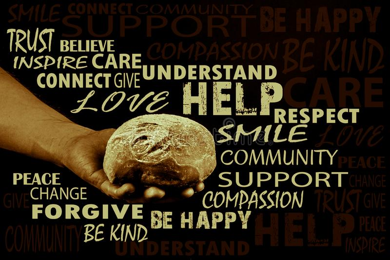 Man holding bread, helping hand giving bread. Word cloud, Aged photo,. Man holding bread surrounded by random beautiful words, helping hand giving bread. Word royalty free stock image