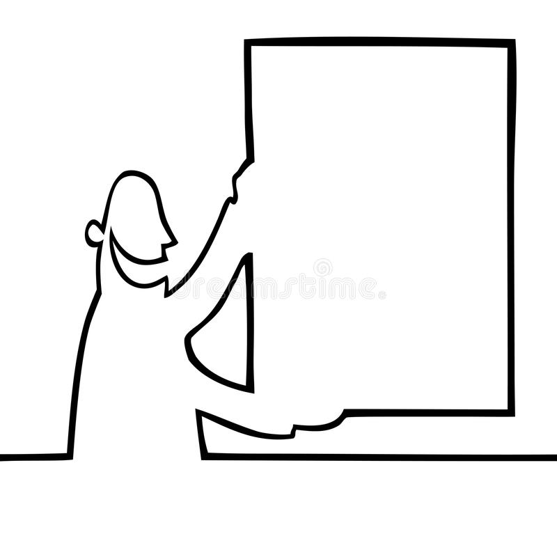 Man holding a bulletin board. Black and white drawing of a man holding a bulletin board up in the air. Can be used for any kind of textual or visual message or royalty free illustration