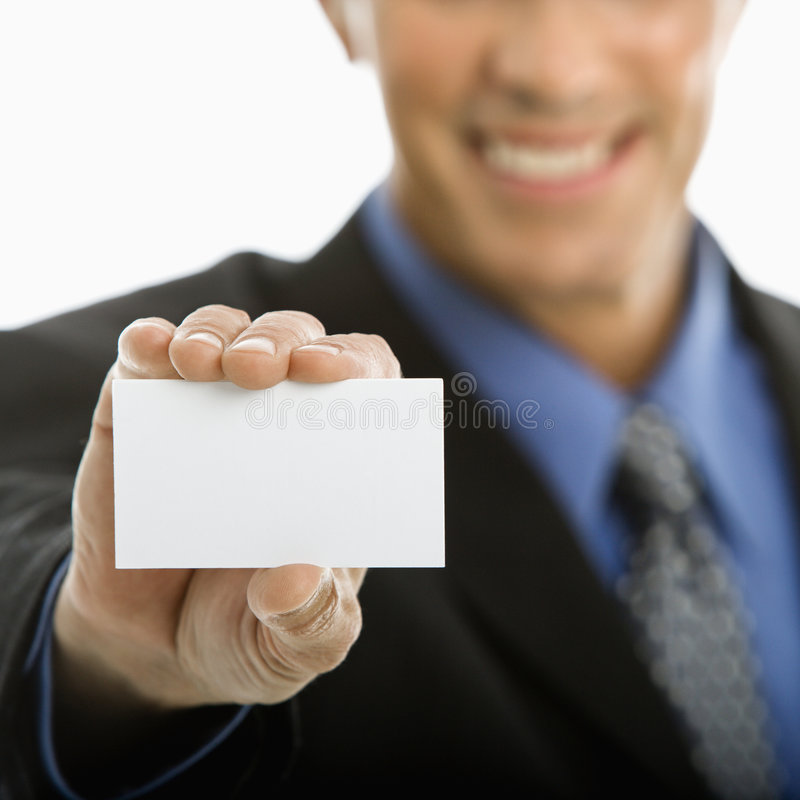 Man holding business card. royalty free stock images