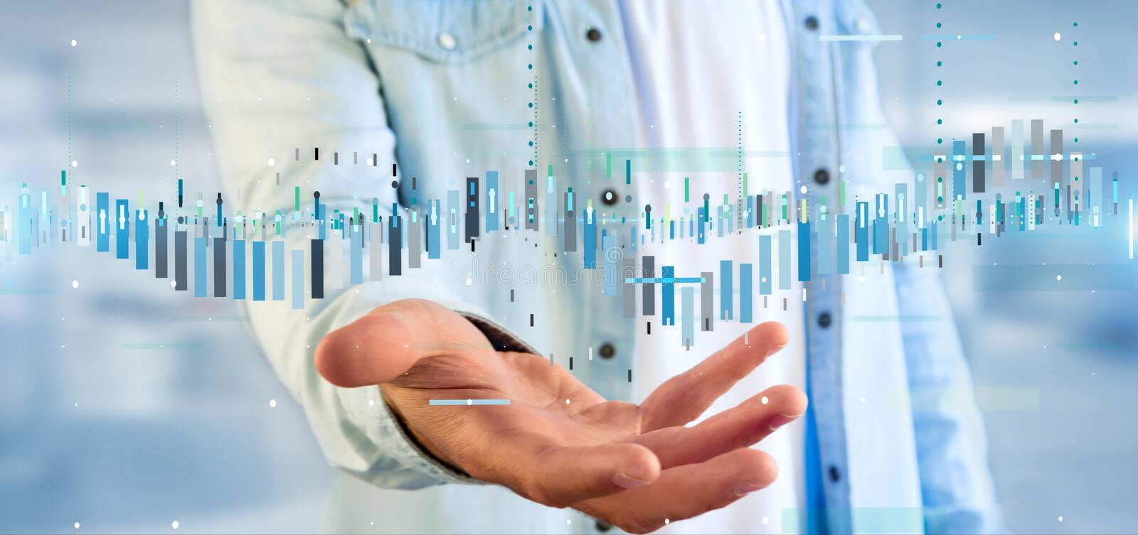 Man holding a Business stock exchange trading data information. View of a Man holding a Business stock exchange trading data information royalty free stock image