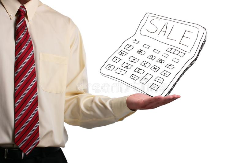 Man holding a calculator stock images