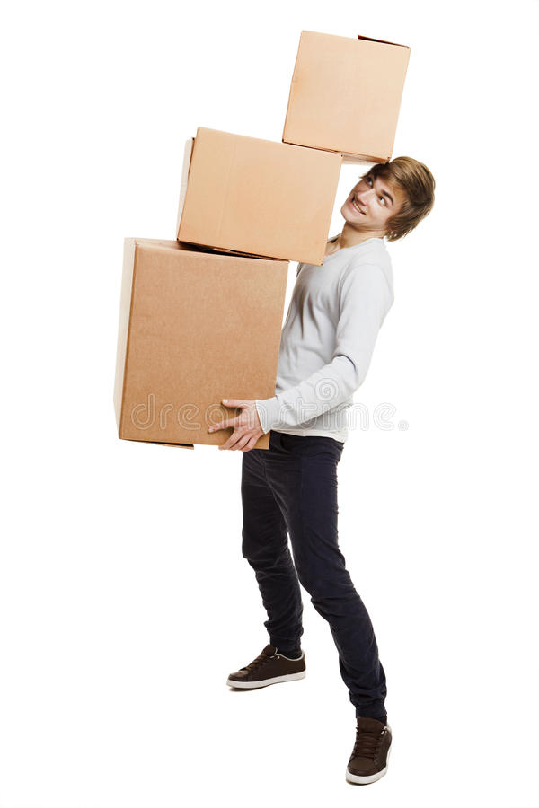 Download Man holding card boxes stock photo. Image of image, away - 27691026