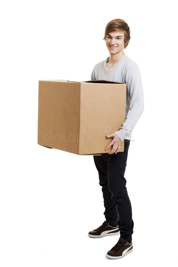 Man Holding A Card Boxes Stock Image