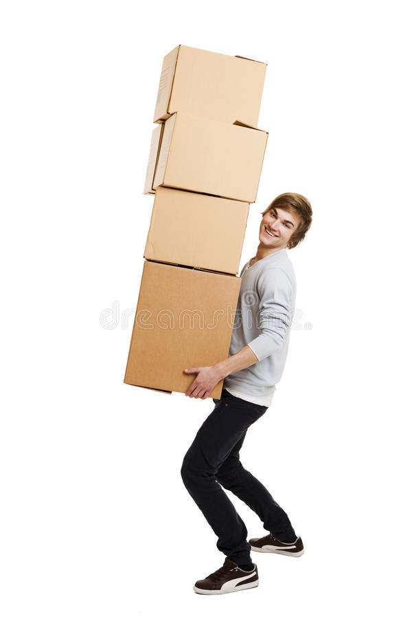 Download Man holding card boxes stock photo. Image of move, carrying - 36228138
