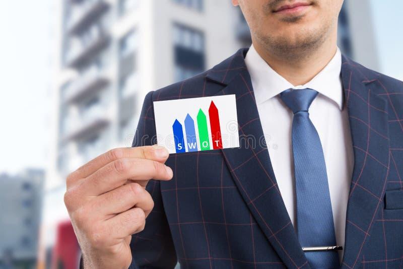 Man holding card presenting swot method royalty free stock photo