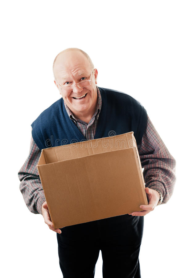 Download Man holding cardboard box stock photo. Image of glasses - 20476058