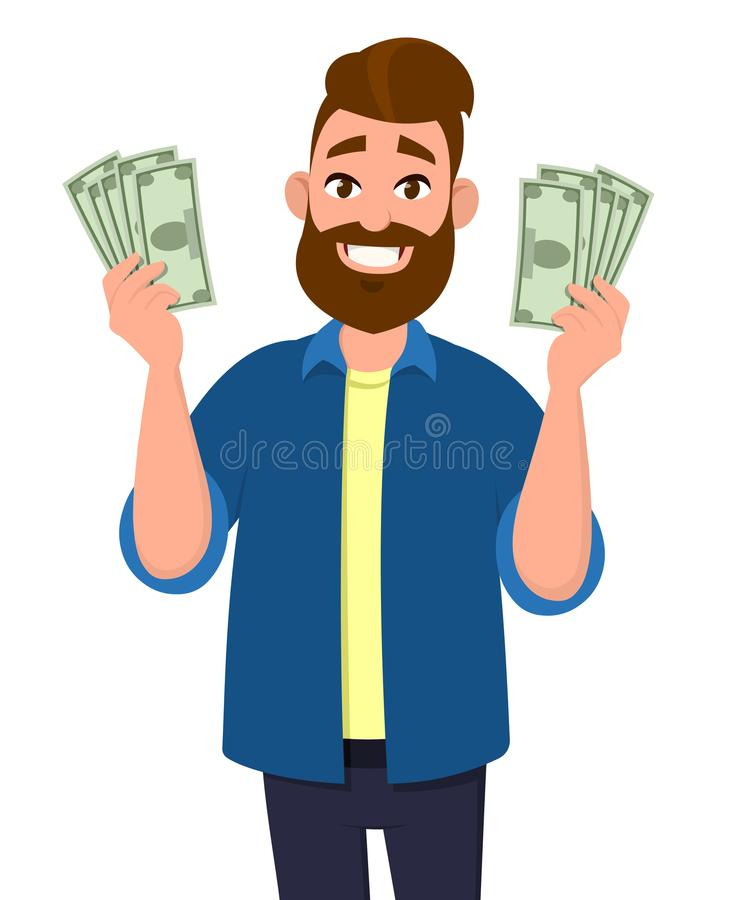 Young man holding cash/money/currency notes in hands. Business and finance concept illustration. royalty free illustration