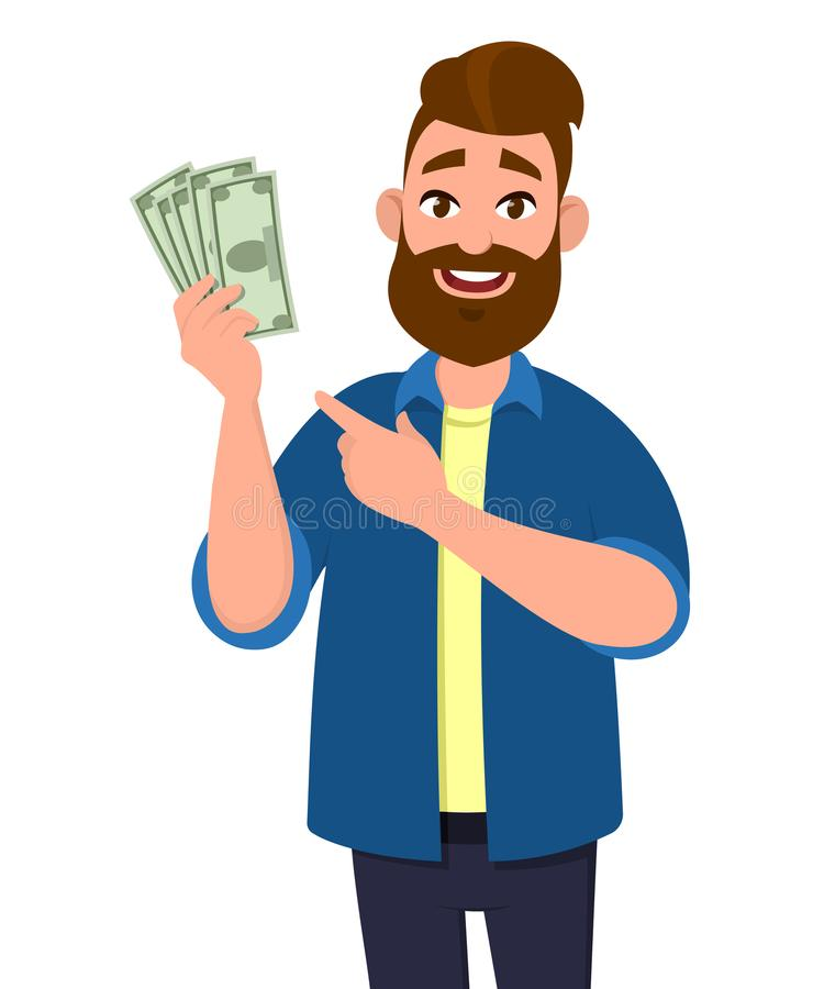 Man holding cash/money/currency notes in hand and pointing. Business and finance concept illustration. Man holding cash/money/currency notes in hand and vector illustration
