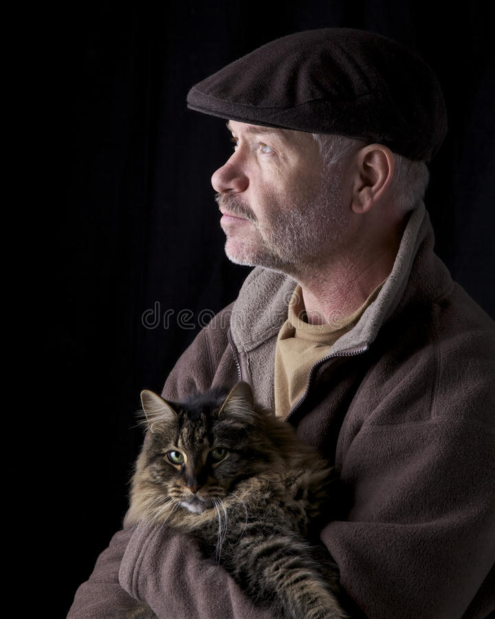 Man Holding Cat royalty free stock image