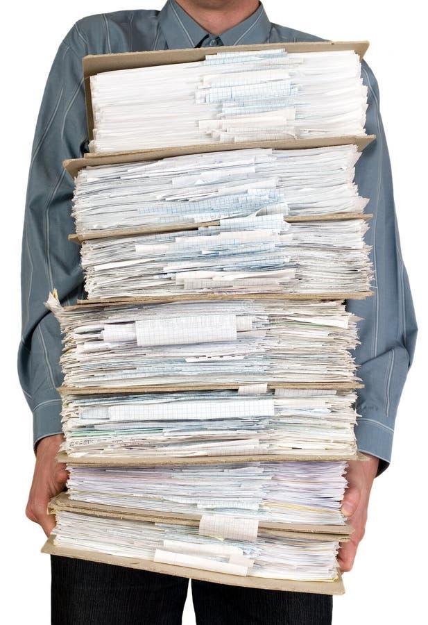 Man holding catalog of documents royalty free stock image
