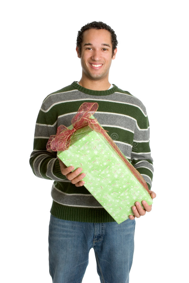 Man Holding Christmas Gift royalty free stock photos