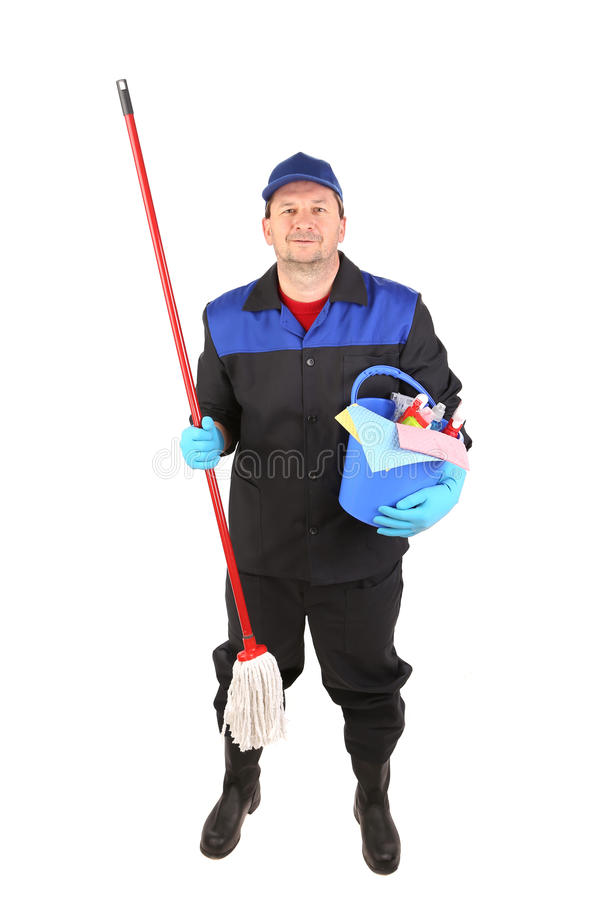 Man holding cleaning supplies. stock image