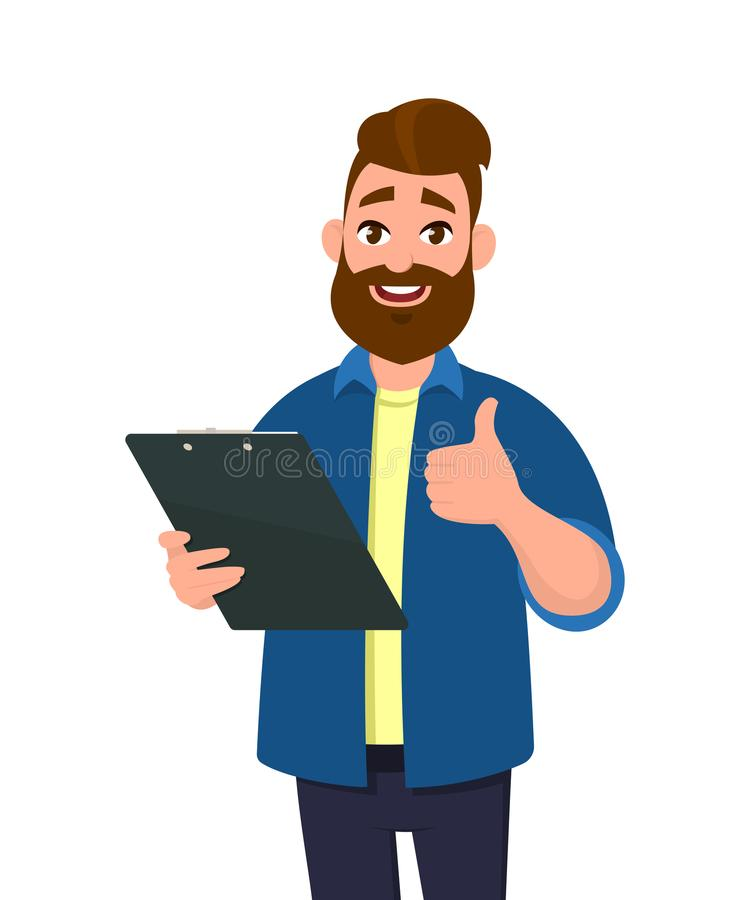 Man holding a clipboard and showing thumbs up or like sign. Man holding report or document. Human emotion concept vector. Man holding a clipboard and showing stock illustration
