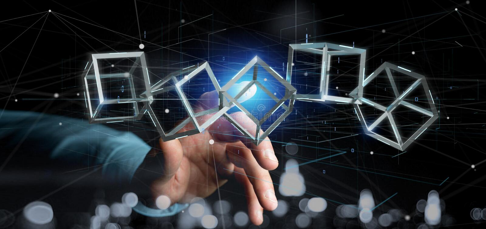 Man holding a 3d rendering blockchain cube isolated on a background stock photos