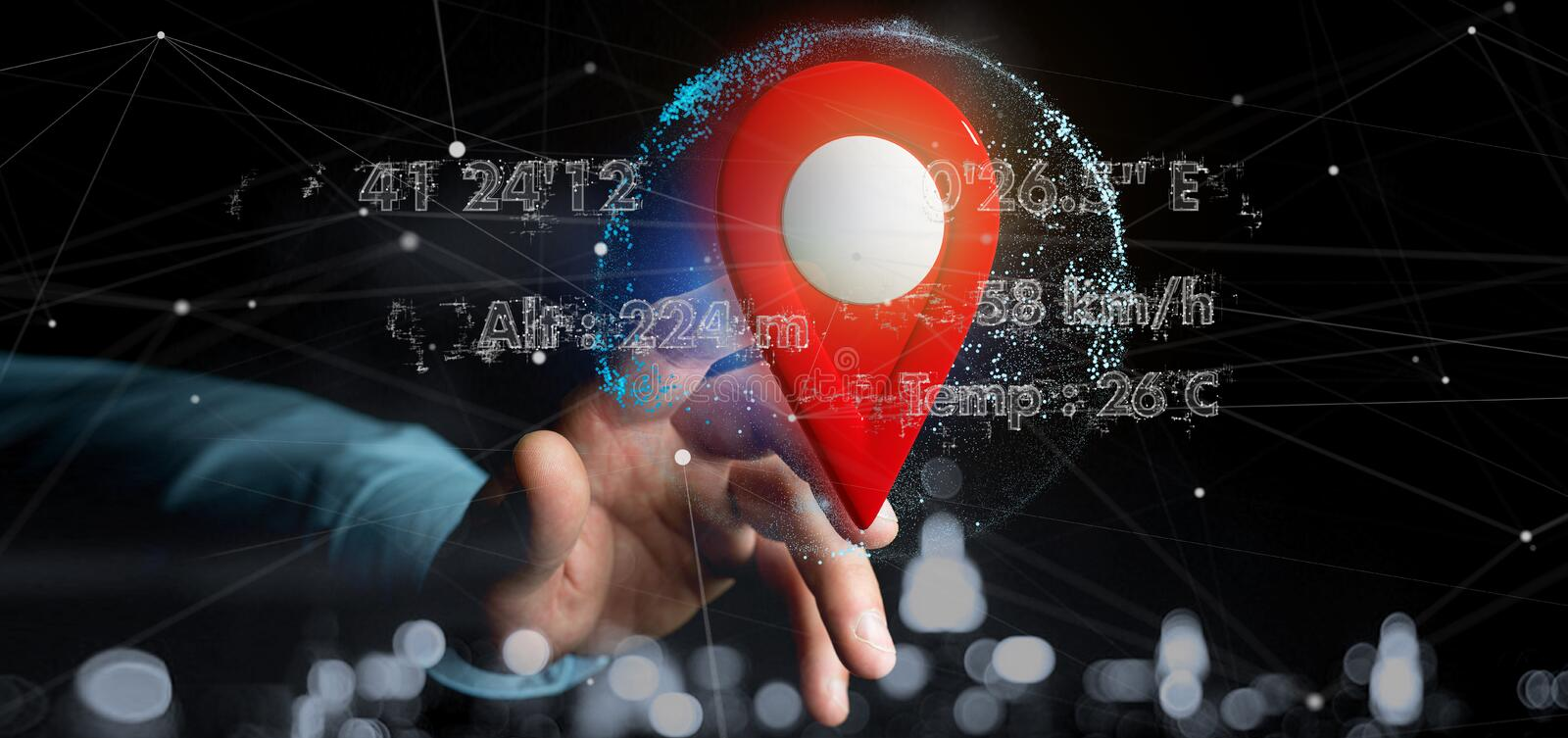 Man holding a 3d rendering pin holder on a globe with coordinates. View of a Man holding a 3d rendering pin holder on a globe with coordinates royalty free stock photography