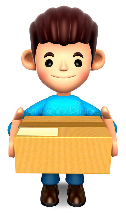Download Man Holding The Delivery Box Stock Illustration - Image: 27024411
