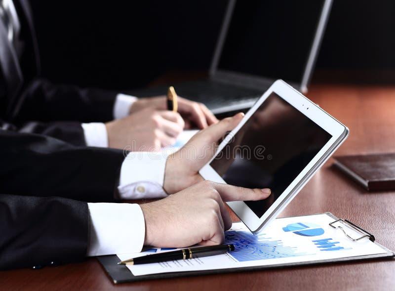 Man holding digital tablet royalty free stock photo