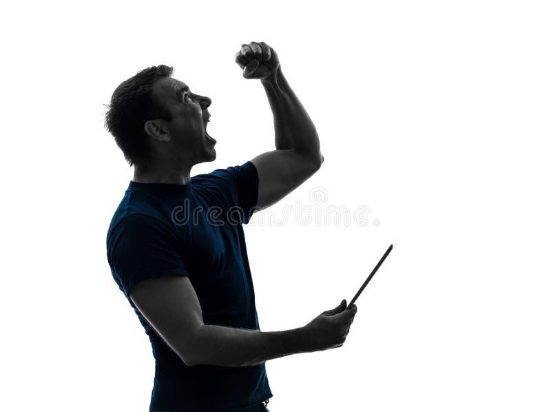 Man holding digital tablet  happy joy silhouette