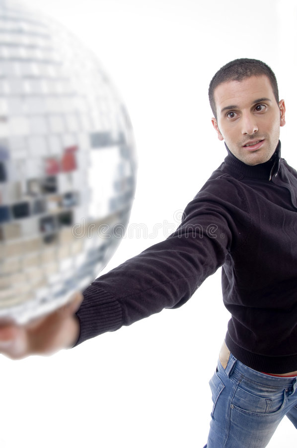 Download Man holding disco ball stock photo. Image of round, years - 7084278