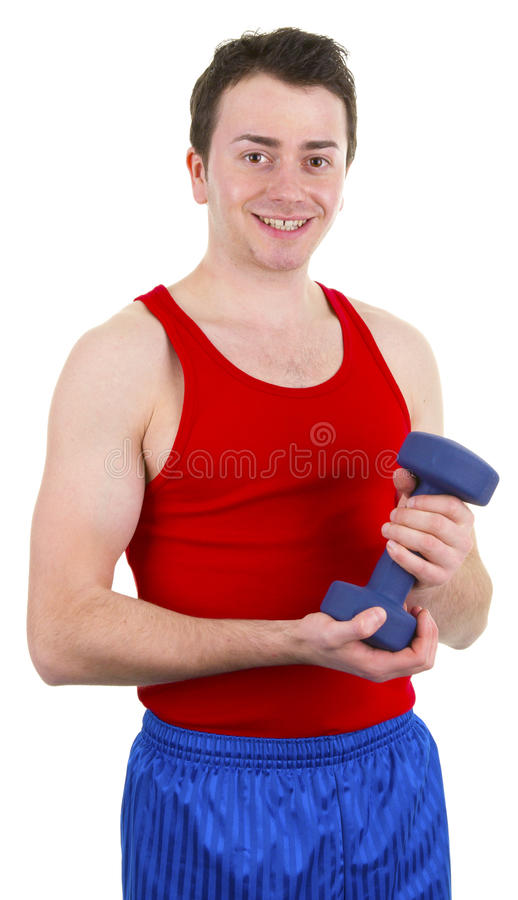 Man Holding A Dumbell Stock Photography