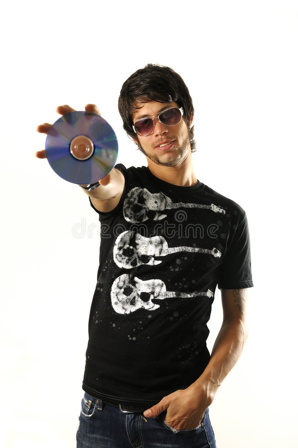 Man holding dvd royalty free stock images