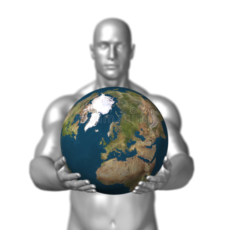 Download Man holding earth stock illustration. Illustration of muscle - 4251376