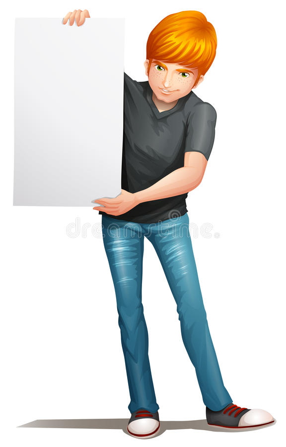 A man holding an empty signboard vector illustration
