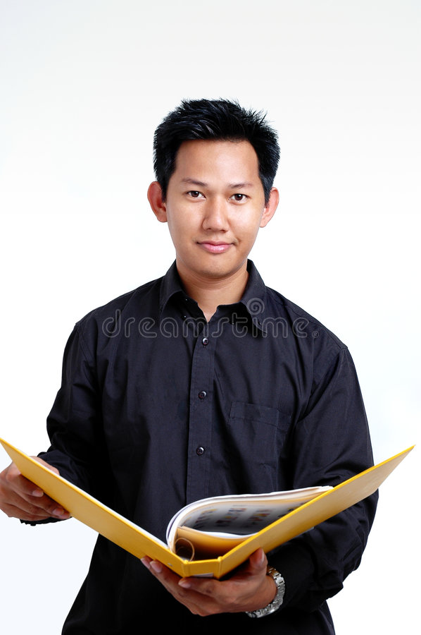 Man holding a file royalty free stock photo
