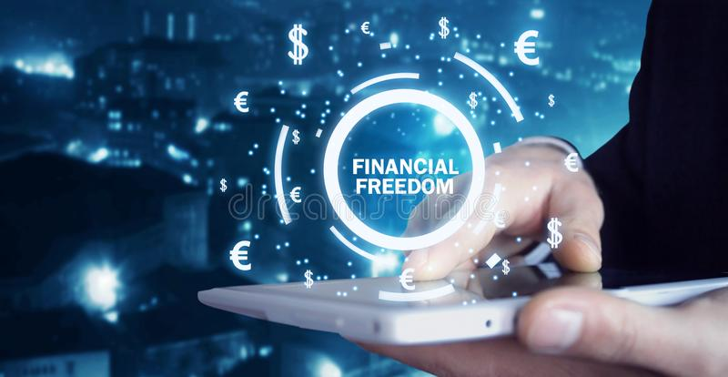 Man holding financial freedom text. royalty free stock image