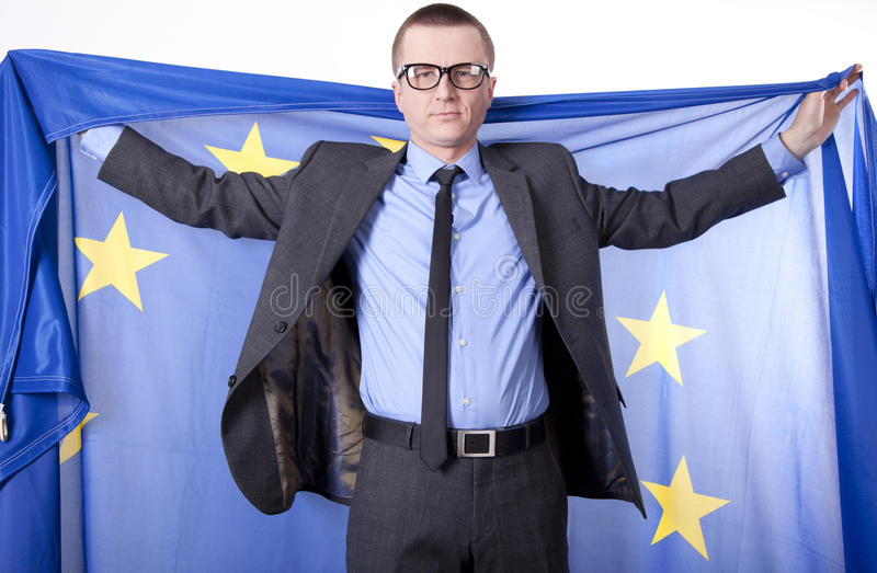 Download Man Holding Flag Of European Union Stock Photo - Image: 24898290