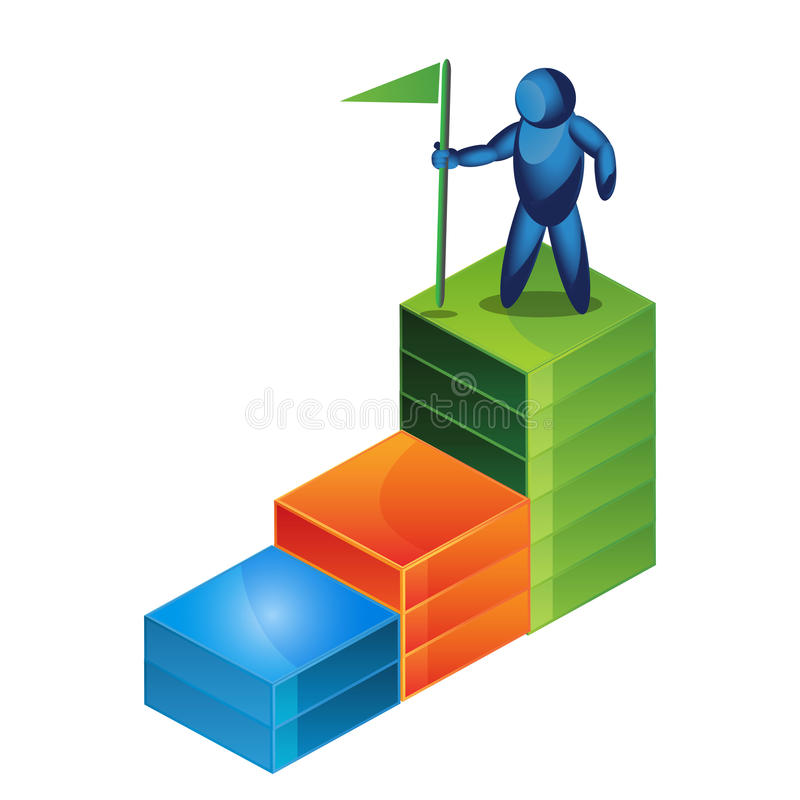 Man holding a flag on the graph. vector illustrator royalty free illustration
