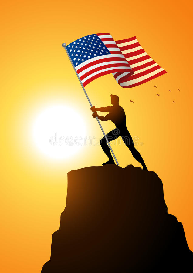 Man holding the flag of The United States of America vector illustration