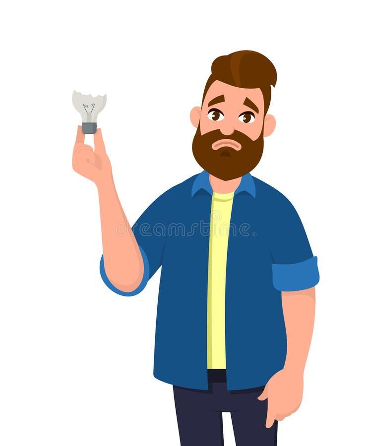 Man is holding broken bulb/damaged bulb. Feeling sad. No idea. Broken light bulb. Human emotion and body language concept. Man is holding broken bulb/damaged royalty free illustration
