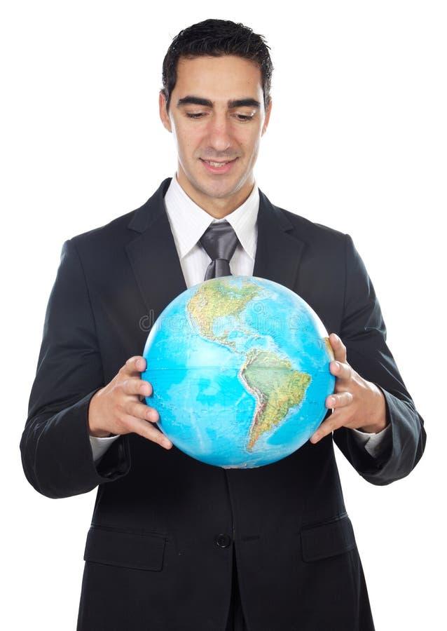Man holding globe stock photos