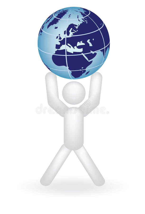 Man Holding Globe On Arms Royalty Free Stock Image