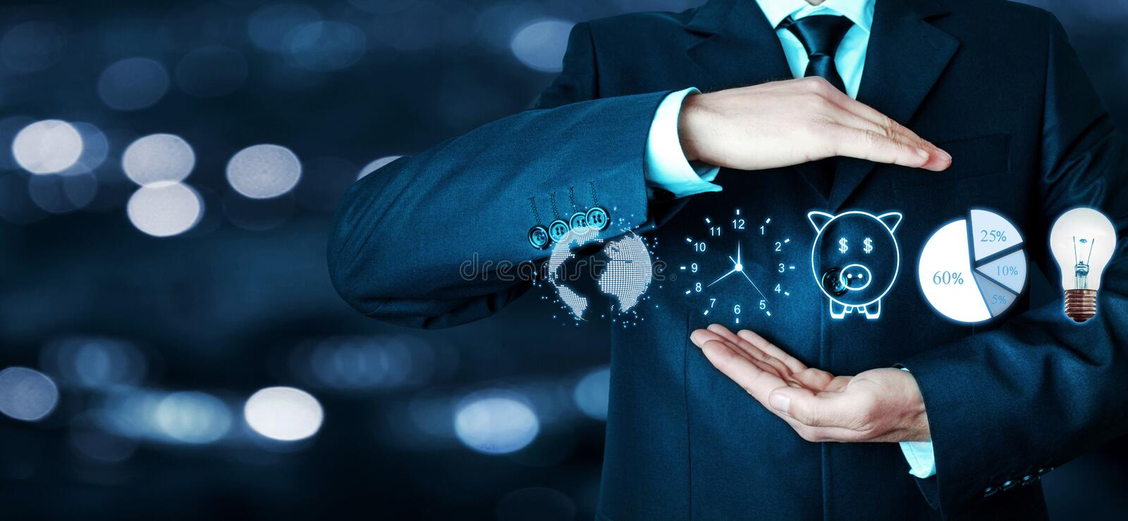 Man holding globe, clock, piggy bank, pie graph and light bulb. Business concept royalty free stock photos