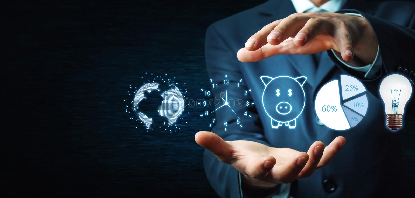 Man holding globe, clock, piggy bank, pie graph and light bulb. Business concept stock photography