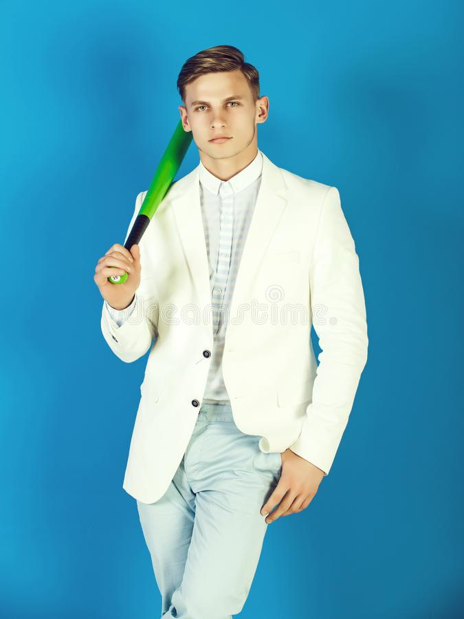 Man holding green bat stock photography