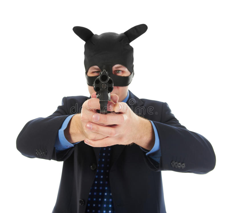 Man Holding A Gun Royalty Free Stock Photography