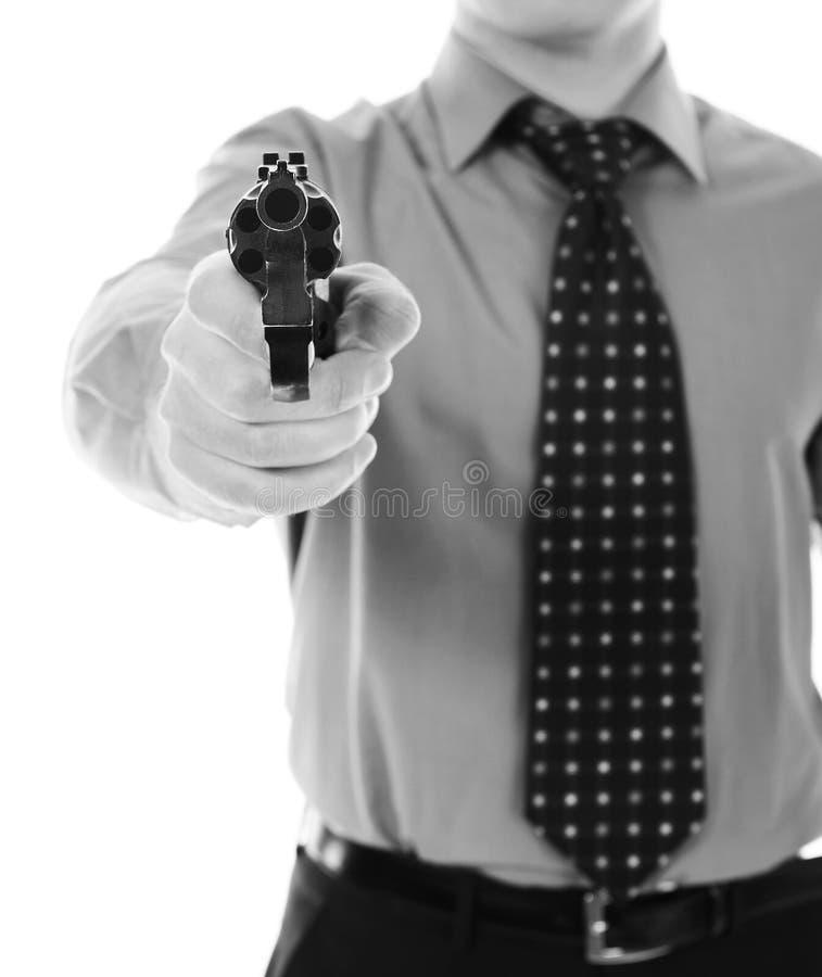 Man holding a gun stock photography