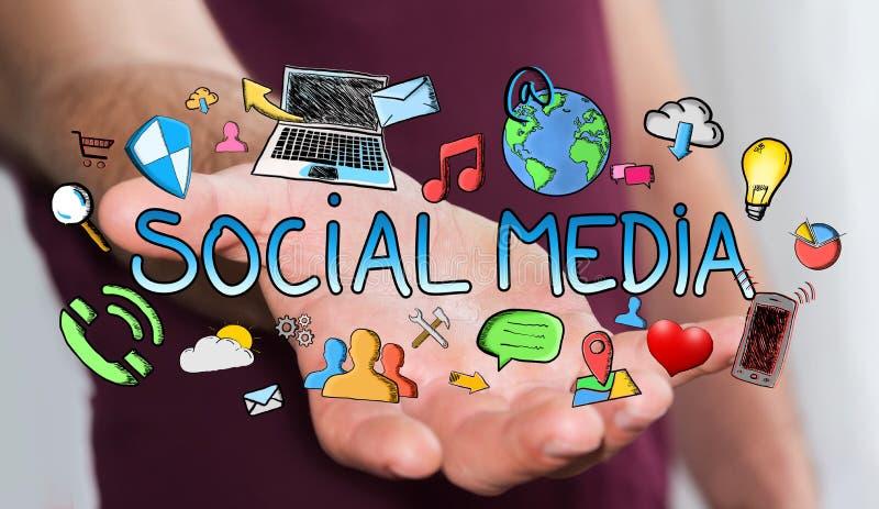 Man holding hand drawn social media presentation royalty free illustration