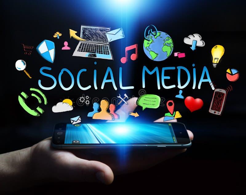 Man holding hand drawn social media presentation vector illustration
