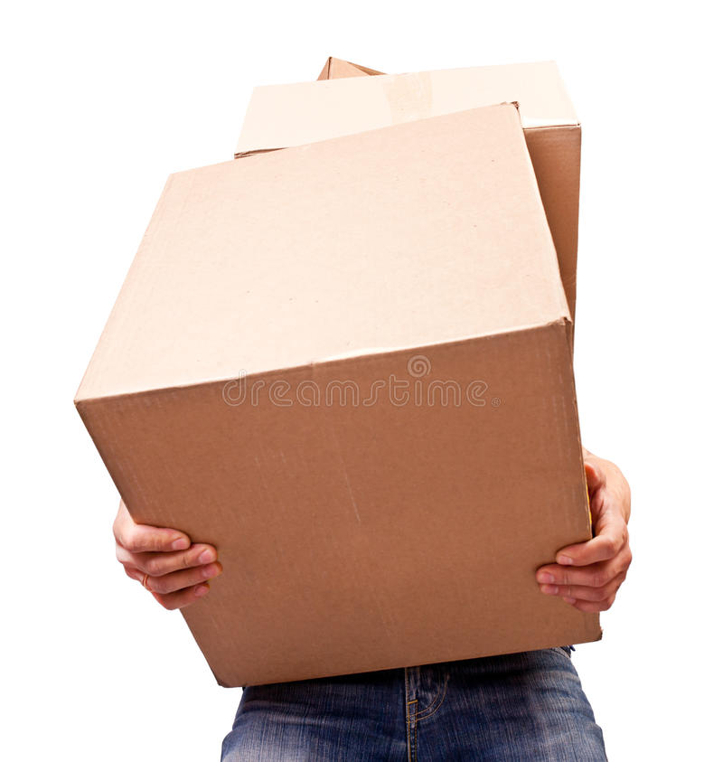 Man Holding Heavy Card Boxes Royalty Free Stock Images