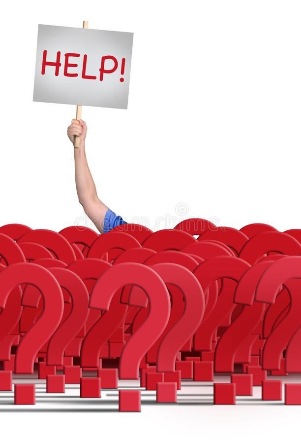 Man holding HELP! sign behind a  huge wall of question marks royalty free stock images
